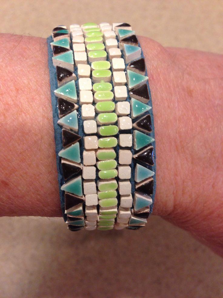 Mosaic tile leather bracelat