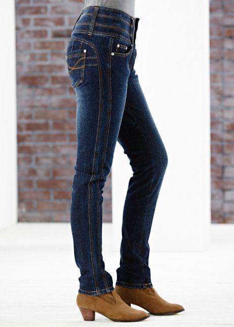 Jeans stretch skinny com costuras laterais e cós largo