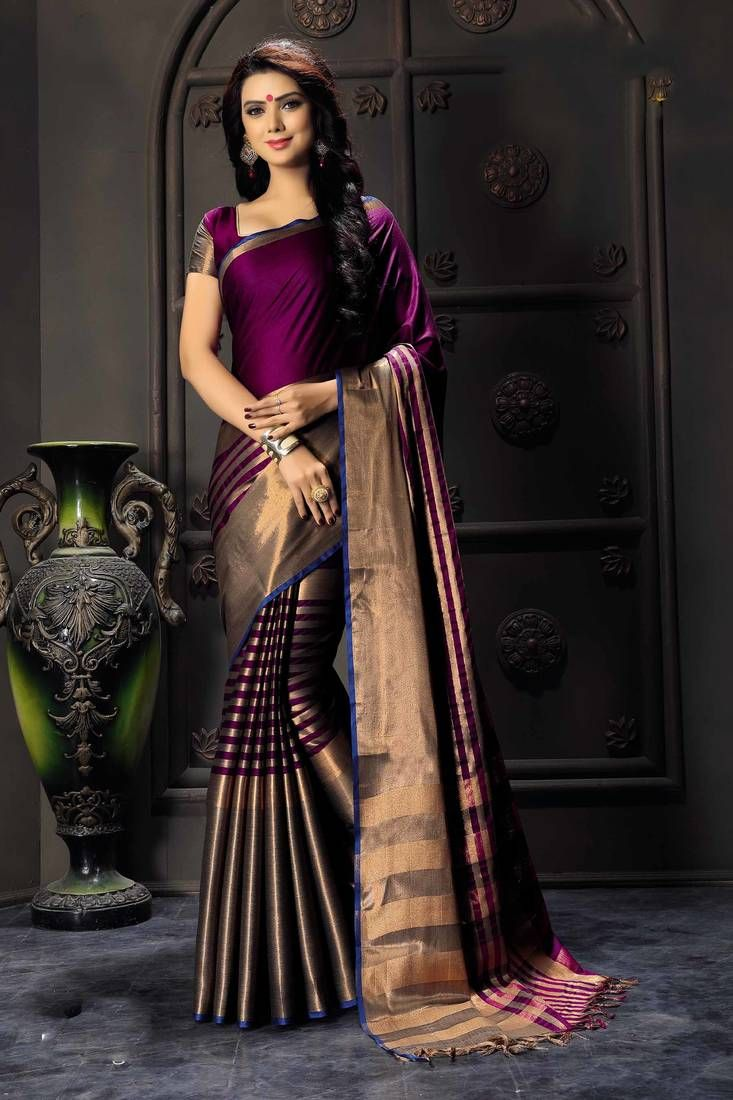 0e7e010925 Purple printed cotton silk saree with blouse in 2019 | sarees | Silk ...