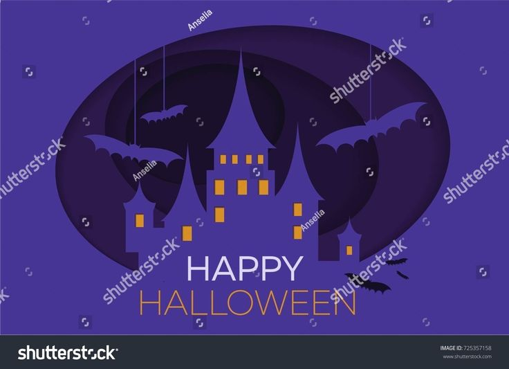 Scary vector castle from paper. Halloween things,vector illustration
