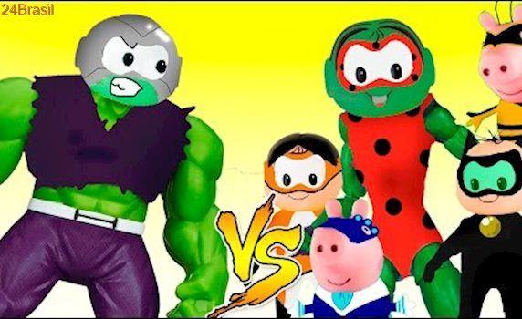 Monica miraculous Ladybug vira Hulk vc Cascão Halk Moht Hulk George Pig Cascão Peppa Pig portugues