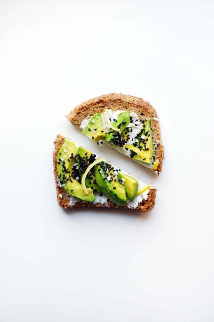 avocado toast with goat cheese black sesame seeds  lemon zest