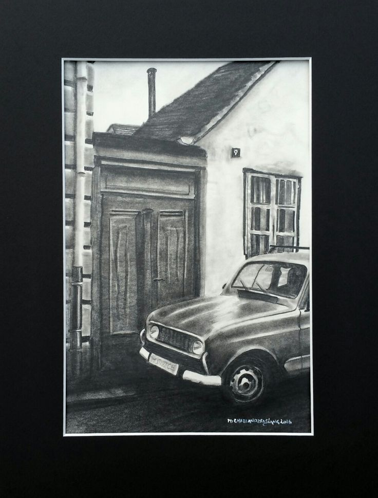 Renault 4-Drawing Pencil on paper 21x30cm framed
