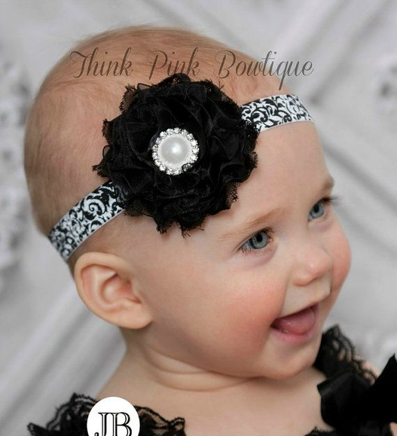 Baby headbands baby headband Black baby headband by ThinkPinkBows