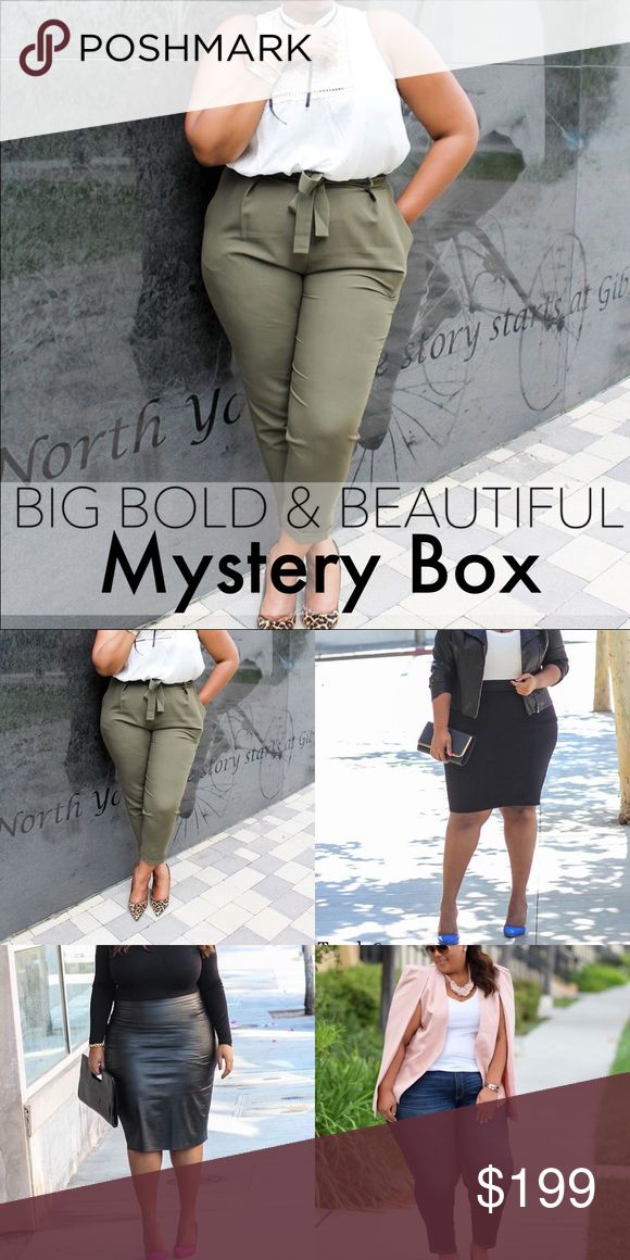 BIG BOLD & BEAUTIFUL MYSTERY BOX // NWT THIS IS THE FIRST AND ORIGINAL LISTING FOR BIG BOLD & BEAUTIFUL MYSTERY BOX💗Big Bold Beautiful.... In today's world curvy is the new black.  We love our body, mind and soul. I want you to feel just as good in your clothes. I will transform your look from comfy and chic. I will send you 3-4 items styled just for you. Brands might include: Asos, charter club, Chicos ,Lane Bryant ,Calvin Klein & More.Size is just a number ,When life gives us curves…