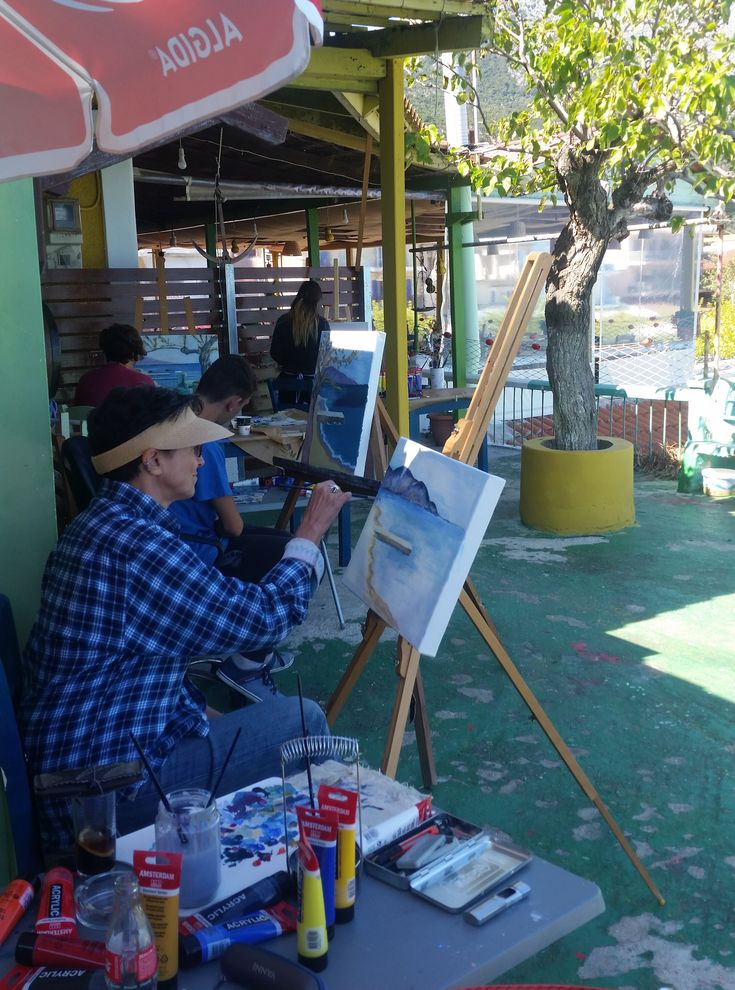 """Metaxart Artists painting outdoor the Kefalonia landscape"""""""