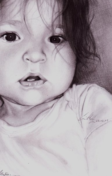 My grand daughter (pencil art by my daughter)
