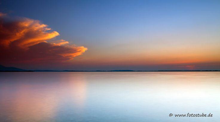 Premium Acrylglasbild Sundowner Chiemsee, Acrylglas Foto