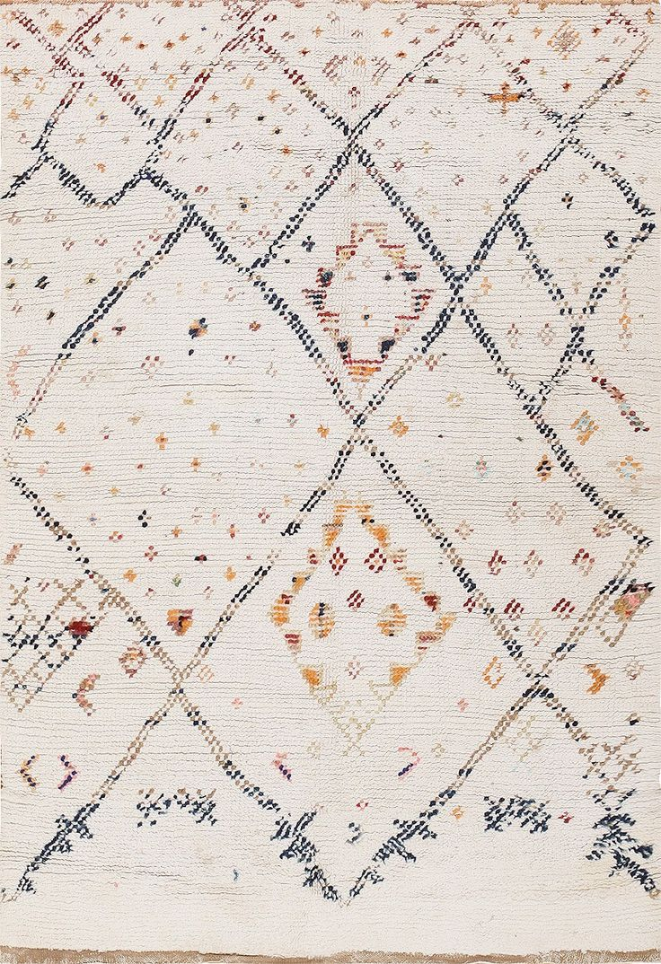 Rare Vintage Cotton Moroccan Rug 47914 Detail/Large View - By Nazmiyal