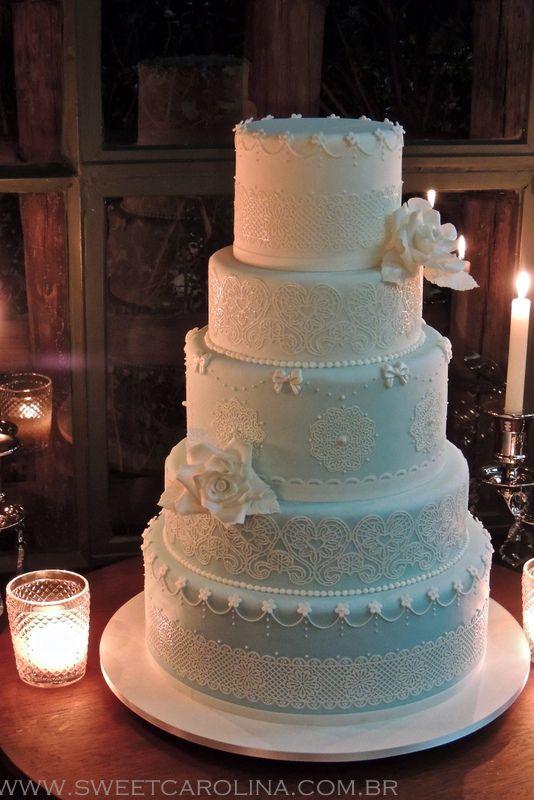 wedding cakes, 5 andares, tiffany, degradê, casamento, renda, flor de açúcar