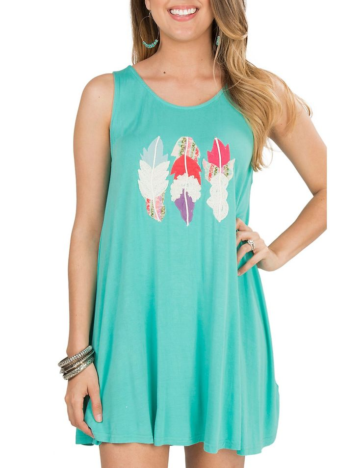 Judith March Women's Turquoise with Feather Embroidery Sleeveless Dress   Cavender's