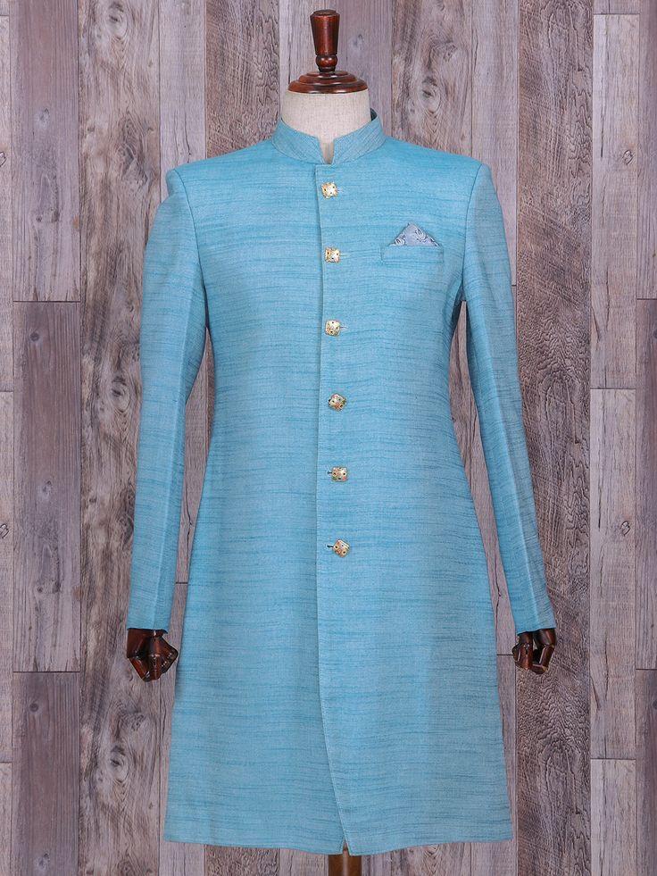 Linen Blue Hue Wedding Wear Indo Western, blue color, linen, groom, wedding wear, groom