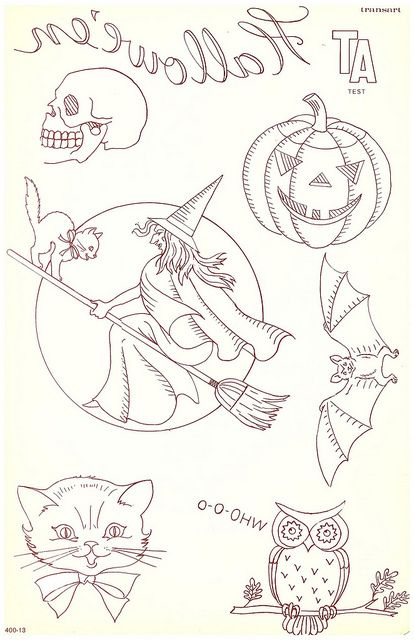 vintage embroidery vintage halloween postcard halloween embroidery vintage cards had such sweet illustrations - Halloween Hand Embroidery Patterns