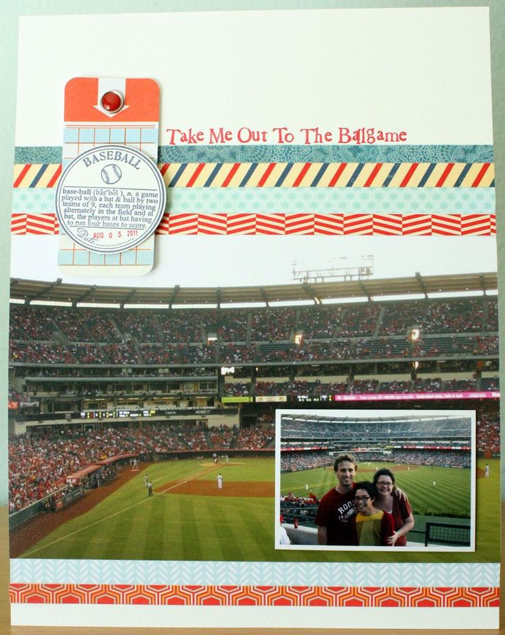 love this idea for a layout - large picture of the stadium with small picture of you AT the game.  by Nora Griffin <3