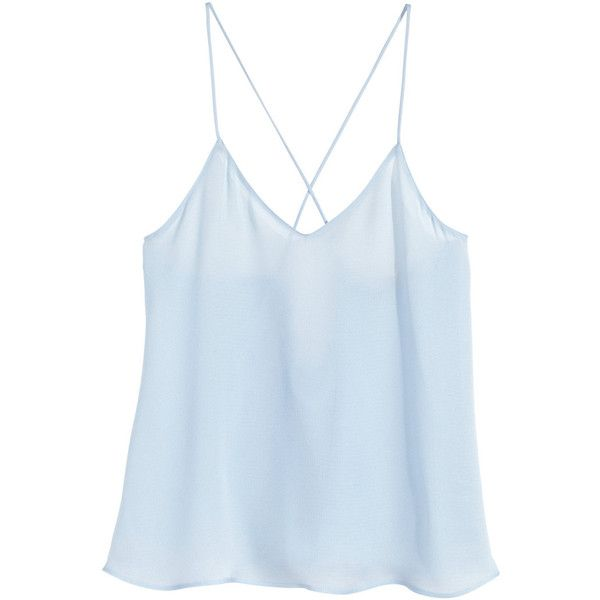 H&M V-neck top ($19) ❤ liked on Polyvore featuring tops, tank tops, light blue, v-neck tops, surplice top, cross over top, h&m and h&m tops