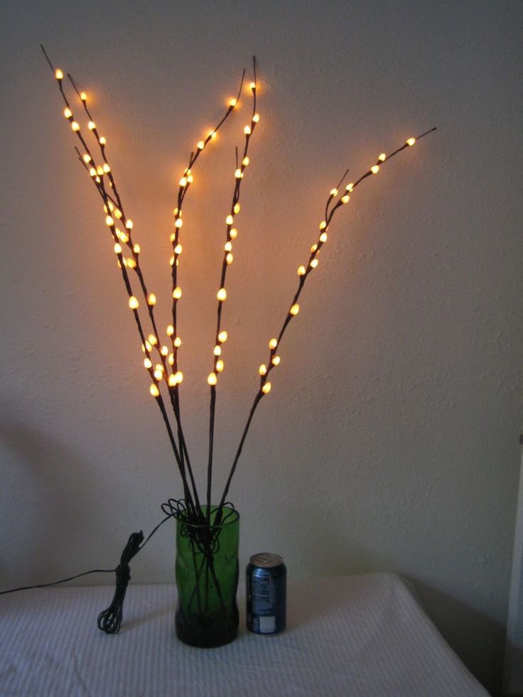 Magical forest: lit branches http://www.ebay.com/itm/Lighted-Pussy-Willow-Branches-5-Stems-Connected-to-AC-Wall-Adapter-39-79-Lights-/171566036969