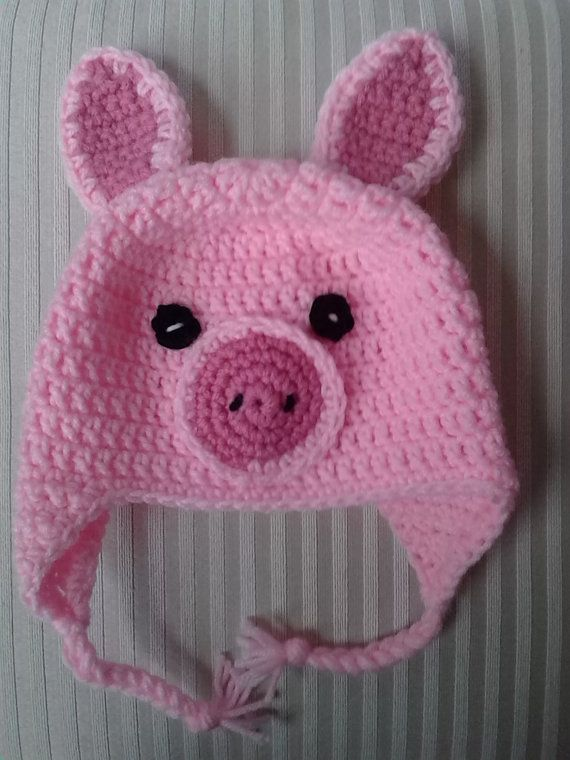 Crochet Pig Hat by CuddleinCrochet on Etsy, $25.00
