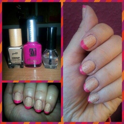 Pink top short nail art
