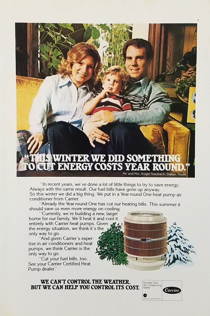 1970's Carrier Year-round One Heat Pump Air Conditioner Vintage Ad Family Sitting On Sofa