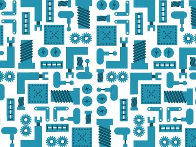 blue robot pattern