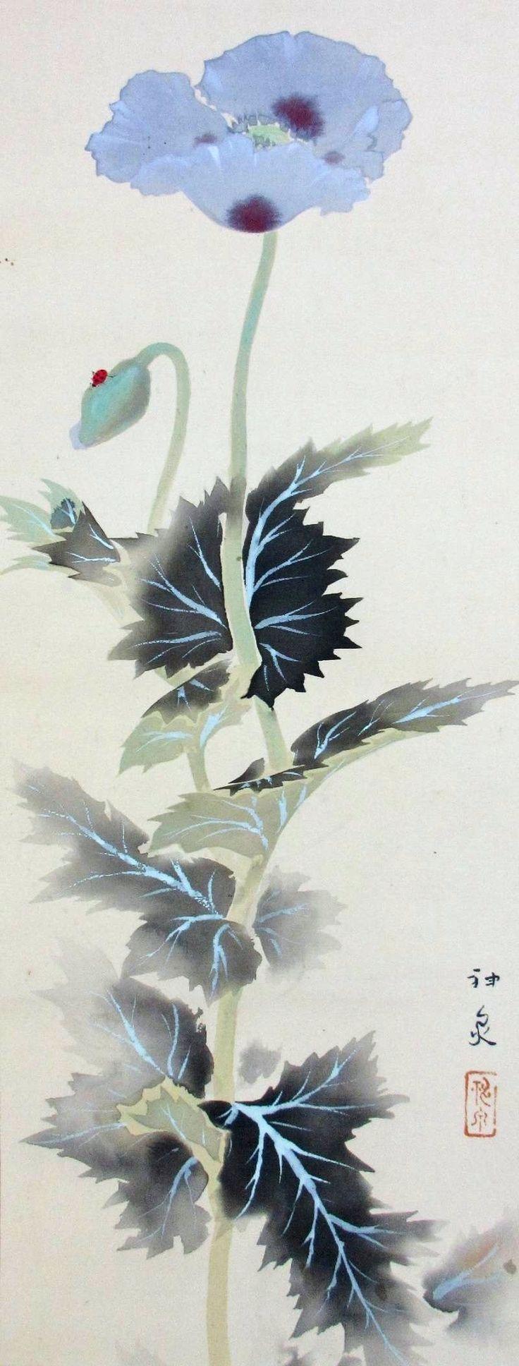 Tokuoka Shinsen 徳岡神泉 (1896-1972), flower and ladybug.