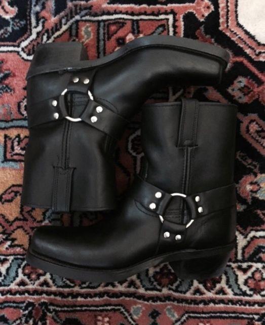 FRYE HARNESS BOOTS WOMEN SIZE 9 BLACK LIKENEW | eBay