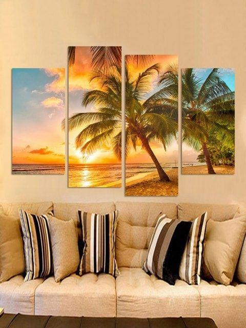 Beach Palm Tree Print Unframed Canvas Paintings Cheap Canvas Wall Art Palm Trees Painting Canvas Wall Art Set