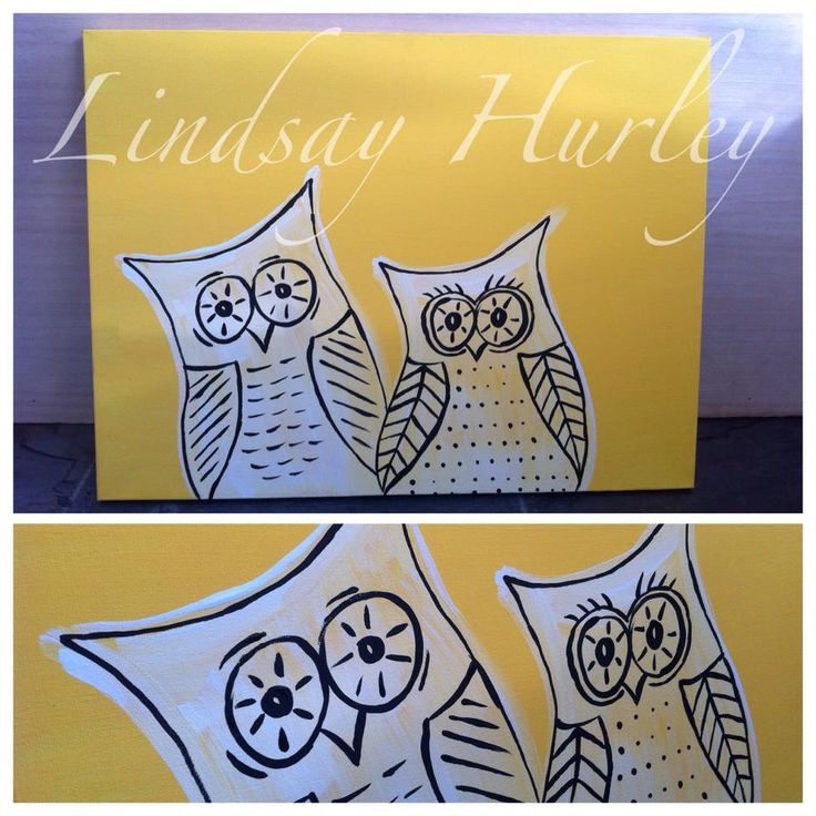 yellow,owl,owls,canvas Canvas Art By Lindsay Hurley www.earthseadesigns.webs.com/ www.facebook.com/earthseadesigns