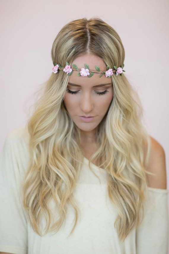 Stretchy Wedding Bands >> Flower Crown, Wedding Headband, Music Festival Bohemian Hair Band in light pink Bride's Hair for ...
