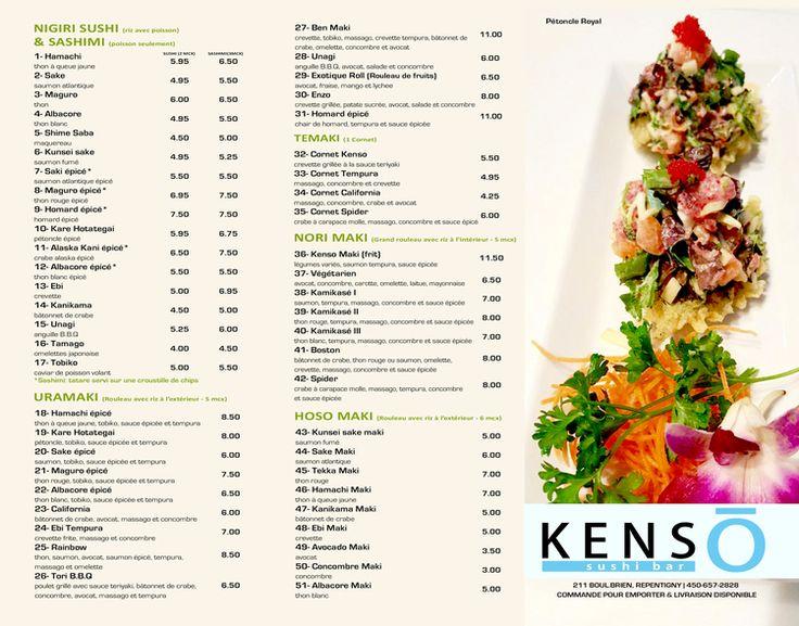 Kenso Sushi Bar - Sushi Menu
