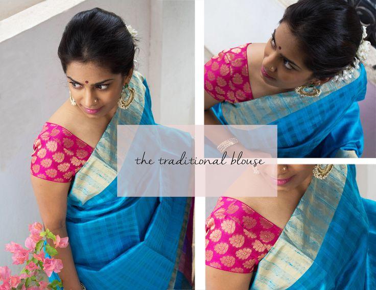Traditional blouse- brocade- U neck blouse