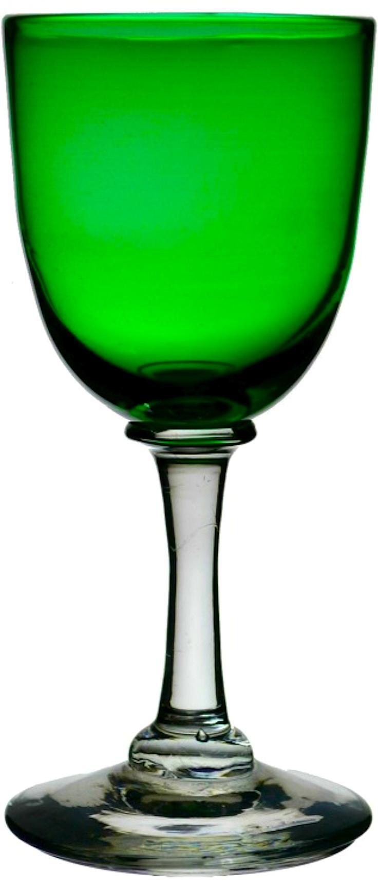 Six 19th Century Green Dessert Wine Glasses in emerald green.