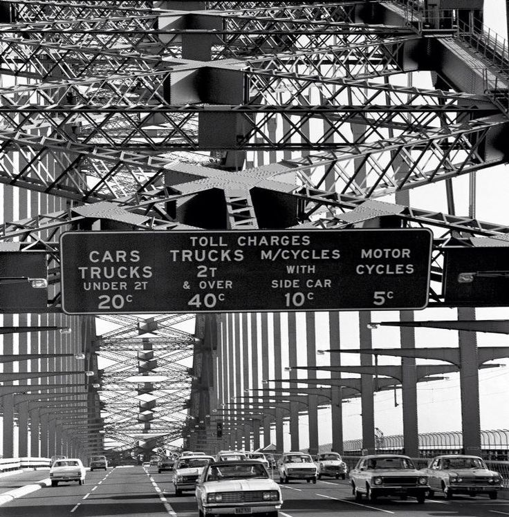 Harbour Bridge tolls signs 1970's (RMS Library)