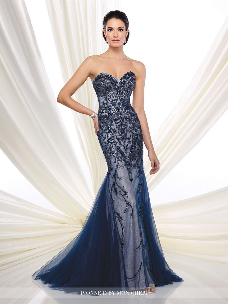 Strapless hand-beaded tulle trumpet dress with sweetheart neckline, dropped waist, tulle godets add soft flare, sweep train