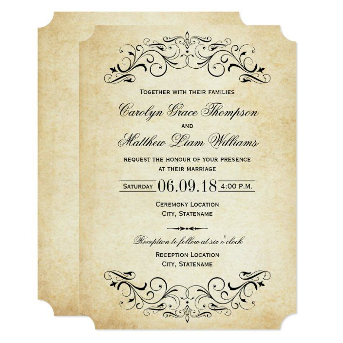 Vintage Black Flourish Wedding Invitation Zazzle Com In 2020 Vintage Wedding Invitations Wedding Invitations Elegant Wedding Invitations