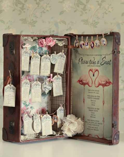 Vintage suitcase wedding table plan - Dottie Creations