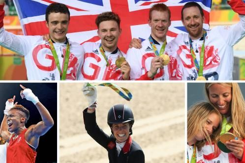 Clockwise from top: members of the men's cycling team pursuit, Hannah Mills and Saskia Clark of the women's 470 rowing, Charlotte Dujardin after the dressage individual, and boxing's Nicola Adams