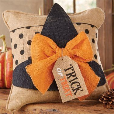 witch hat pillow wrap burlap pillow also available now in stock - Halloween Pillows