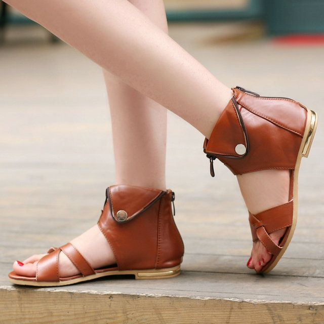 Fashion Dessy Sandal Women Aged Leather Flat de Mujer Ladies Shoes Dress Elegant Open-Toe Comfortable