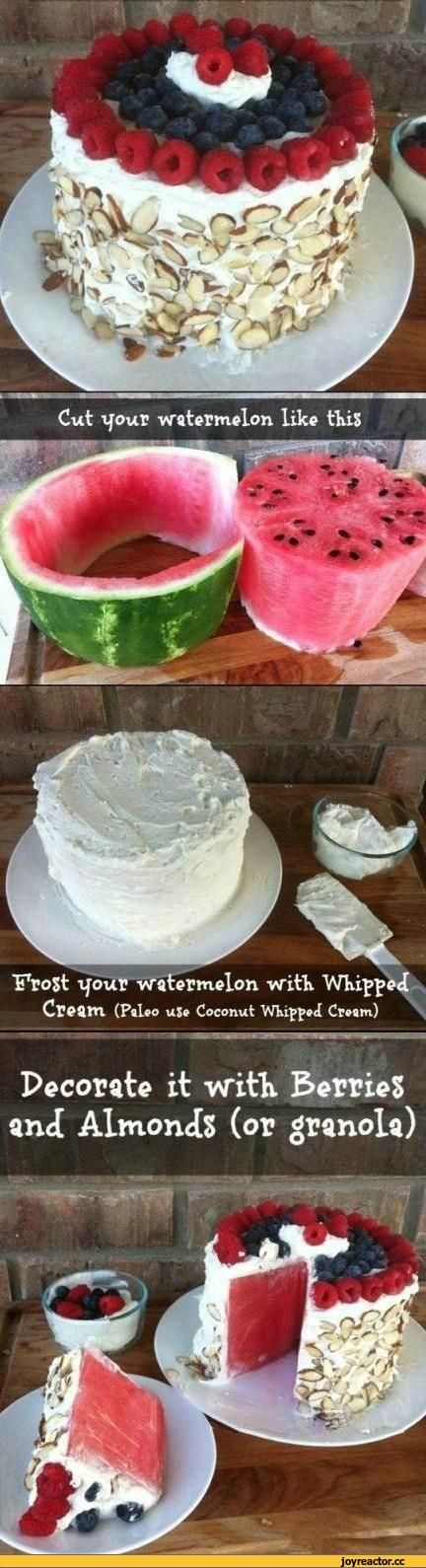 Yum can't wait to try this NO BAKE WATERMELON CAKE during summertime !