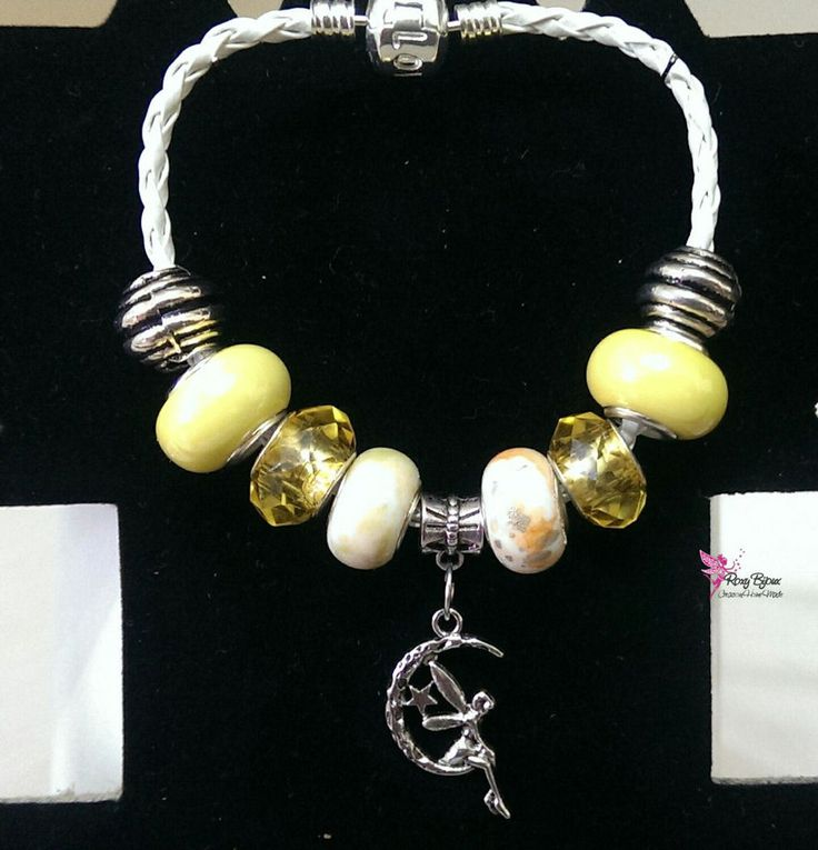 Bracciale con cordino bianco e pietre toni gialli, by Roxy Bijoux, 5,50 € su misshobby.com