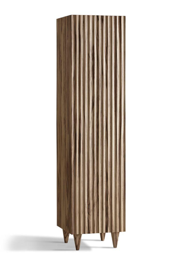 GIANO, design Ugo La Pietra Buffet in legno massello di Zebrano cannettato. Interno colorato con tre ripiani e specchio nella porta.