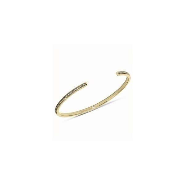 Michael Kors Gold Gold-Tone Clear Pave Thin Bar Open Cuff ($33) ❤ liked on Polyvore featuring jewelry, bracelets, gold, cuff bracelet, michael kors bangle, gold cuff bracelet, clear cuff bracelet and cuff bangle