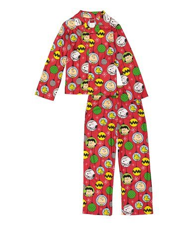 7f71c93ca Look what I found on  zulily! Red Peanuts Pajama Set - Boys ...