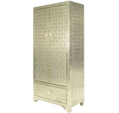 Embossed Metal Pattern White Metal Finish Cupboard With Drawers