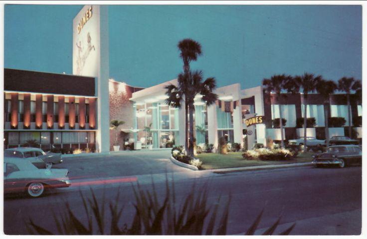Details About Miami Beach Fl Dunes Motel At Night Postcard