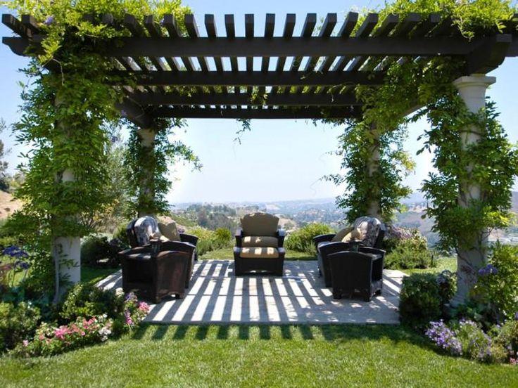 plantes vertes ornent l pergola élégante au-dessus de la terrasse avec un mobilier extérieur de bois