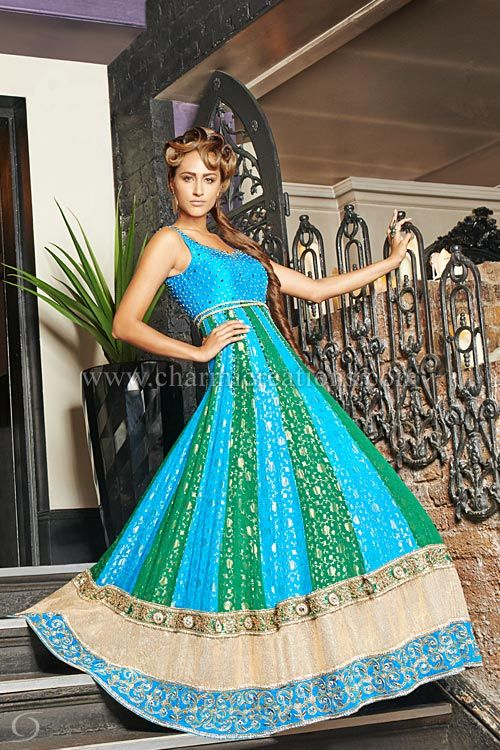 Wedding Reception Dresses - Brocade silk panelled fusion green and blue pure silk gown with 3 big borders