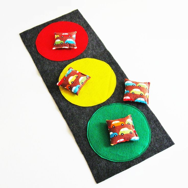 Cars Bean Bag Toss Game - Traffic Stoplight - Party Game / Favors - 4 bean bags, target mat and storage sack. $15.00, via Etsy.