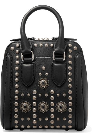 Alexander McQueen's Spring '17 collection is filled with references to the Shetland Isles where Sarah Burton took her team to gather research - the gunmetal studs and crystal-embellished plaques on this 'Heroine' bag recall Celtic jewelry. It's made from smooth black leather and has a suede-lined interior that will easily carry your cell phone, wallet and cosmetics pouch. Use the top handles or long camera-style shoulder strap.